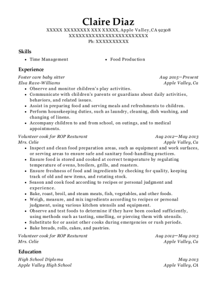 Foster care baby sitter resume template California