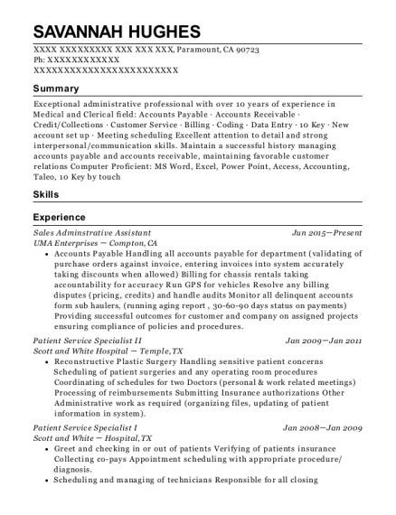 Sales Adminstrative Assistant resume template California
