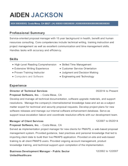 Director of Technical Services resume sample California