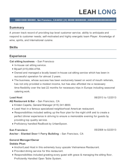 Lead Host resume sample California
