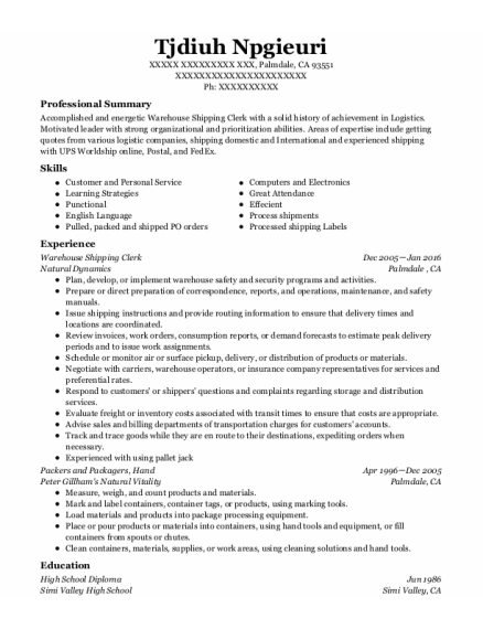 Warehouse Shipping Clerk resume example California