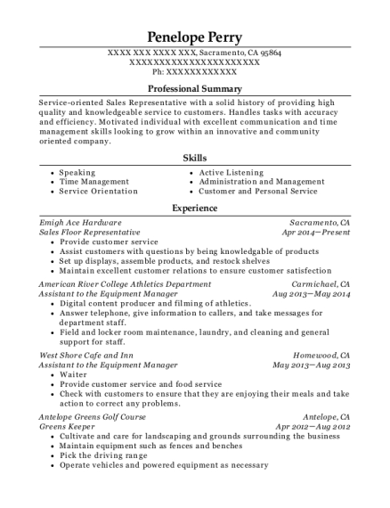 Sales Floor Representative resume template California