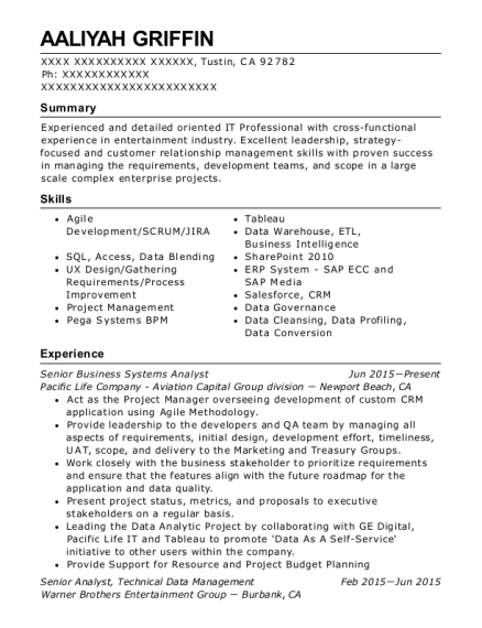 Senior Business Systems Analyst resume format California