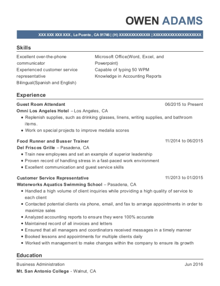 Guest Room Attendant resume example California