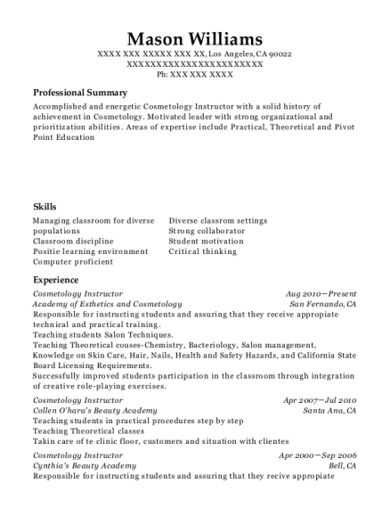 Resume For Cosmetology Instructor Free Resume Templates