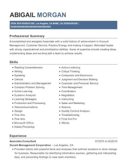 Associate Consultant resume format California