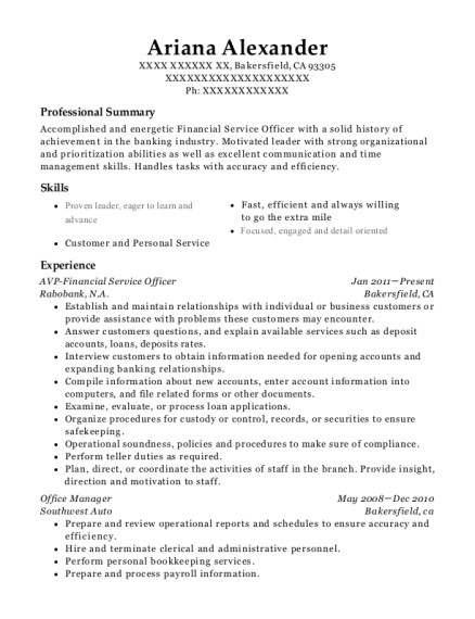 AVP Financial Service Officer resume template California