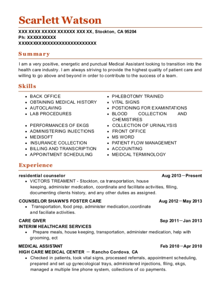 residential counselor resume template California