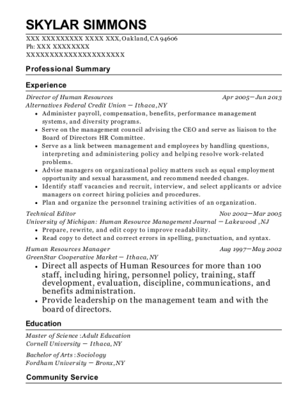 Director of Human Resources resume template California