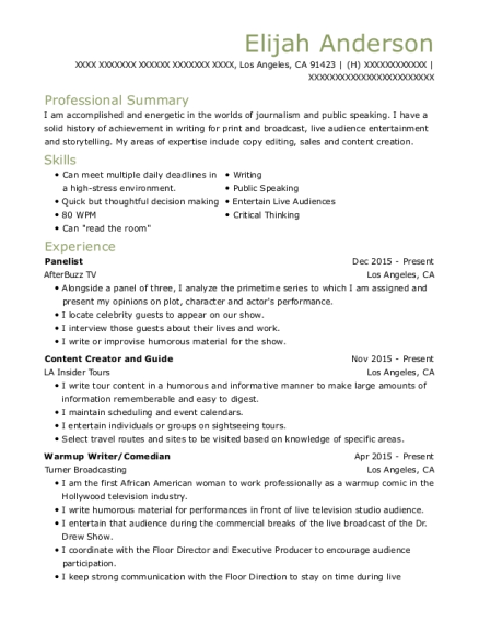 Panelist resume sample California