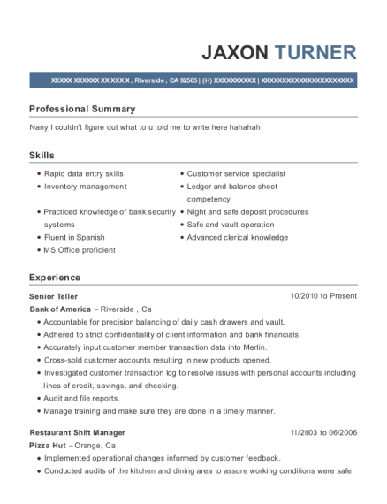 Senior Teller resume example California