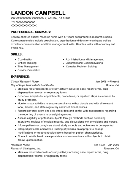 Clinical Research Nurse resume format California