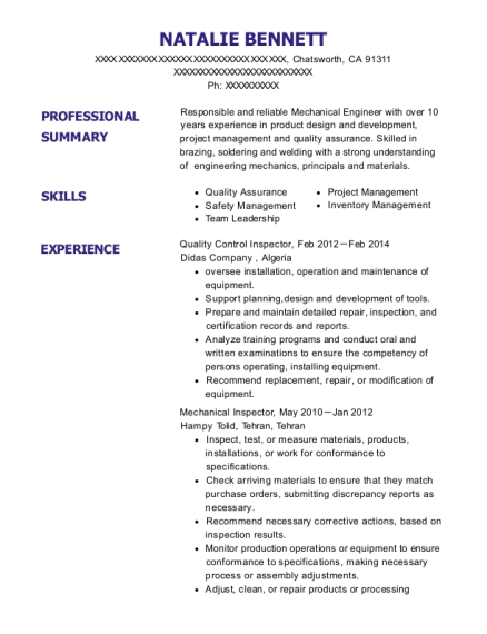 Quality Control Inspector resume example California