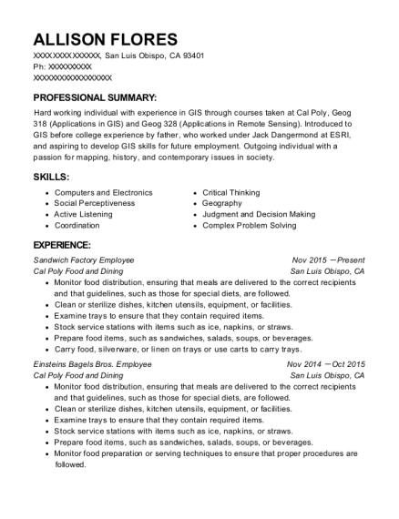 Sandwich Factory Employee resume sample California
