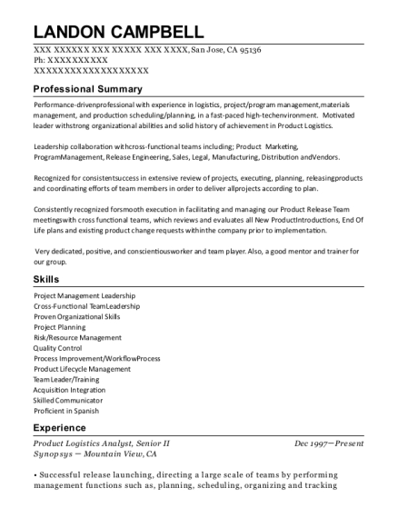 Product Logistics Analyst resume example California