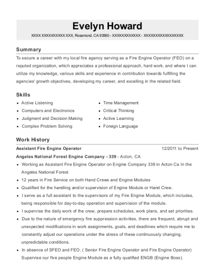 Assistant Fire Engine Operator resume format California