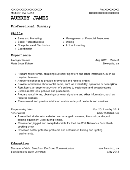Manager Trainee resume format California