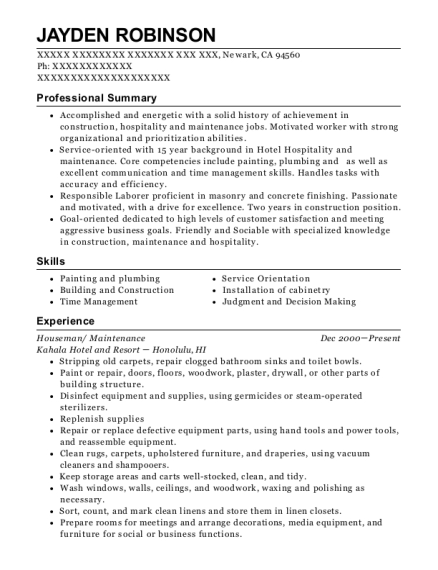 Houseman resume format California