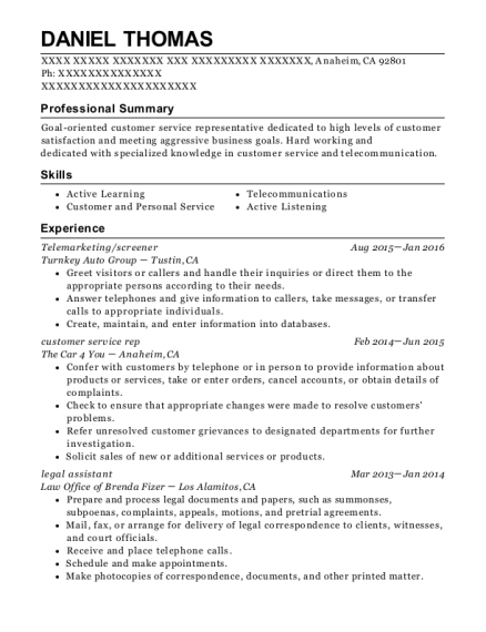 Telemarketing resume template California