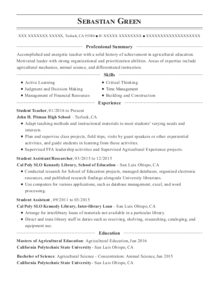Student Teacher resume example California