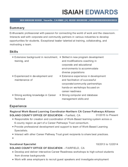 Regional Work Based Learning Coordinator Northern CA Career Pathways Alliance resume sample California
