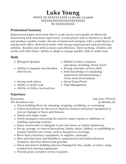 Houseman resume template California