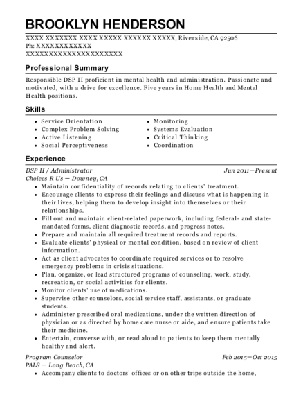 DSP II resume sample California