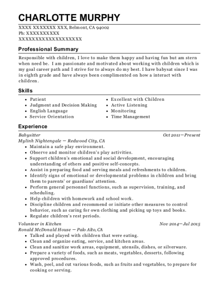 Babysitter resume example California