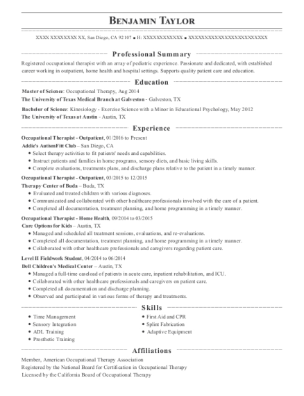 Occupational Therapist Outpatient resume format California
