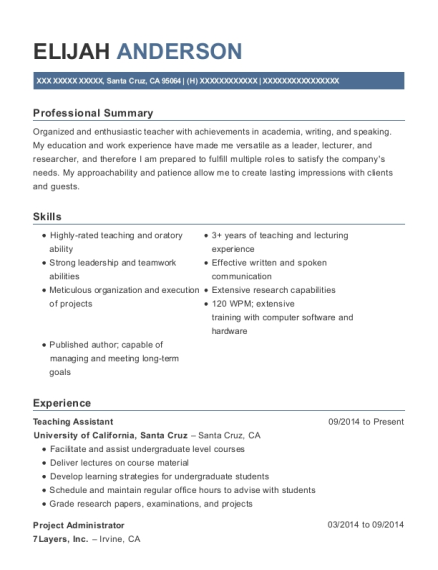 Teaching Assistant resume format California