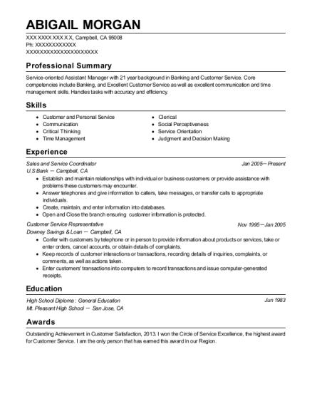 Sales and Service Coordinator resume format California