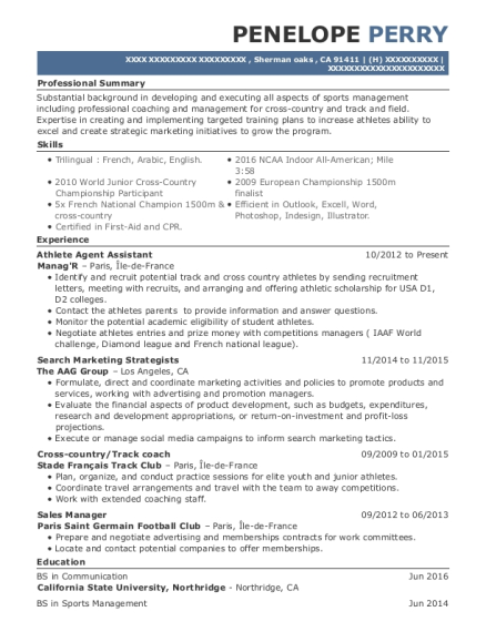 Athlete Agent Assistant resume sample California