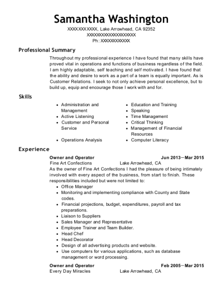 Owner and Operator resume example California