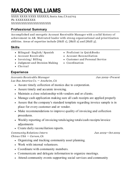 National Medical Billing Services Accounts Receivable Manager Resume