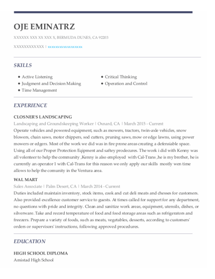 Landscaping and Groundskeeping Worker resume template California