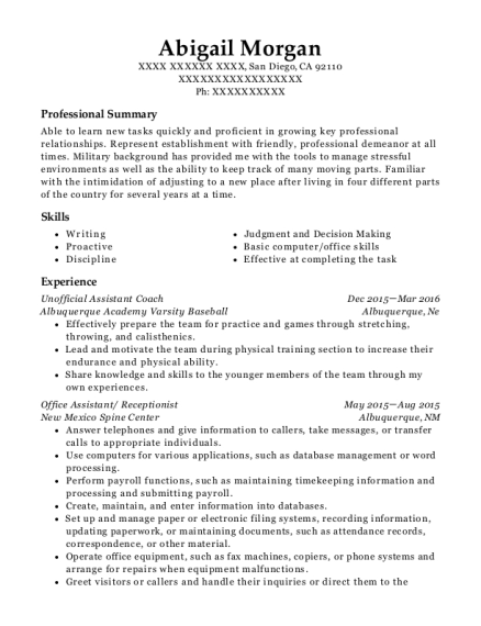 Unofficial Assistant Coach resume format California