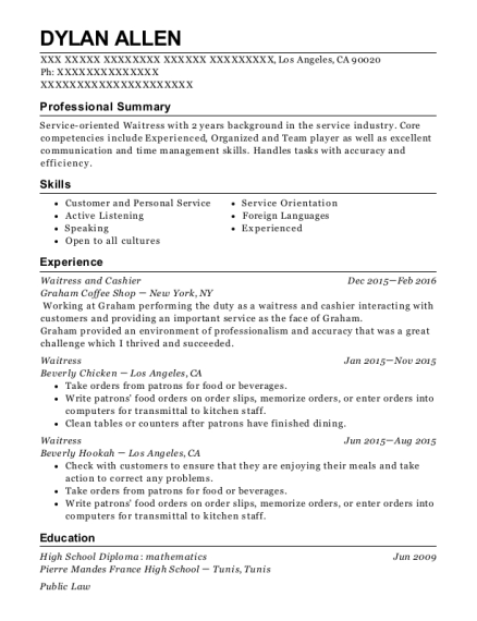 Waitress and Cashier resume sample California