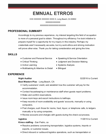 Night Auditor resume sample California
