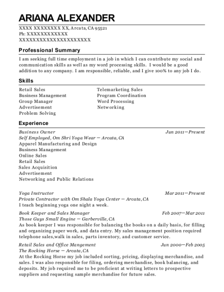Business Owner resume template California