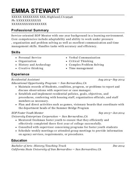 Residential Assistant resume format California