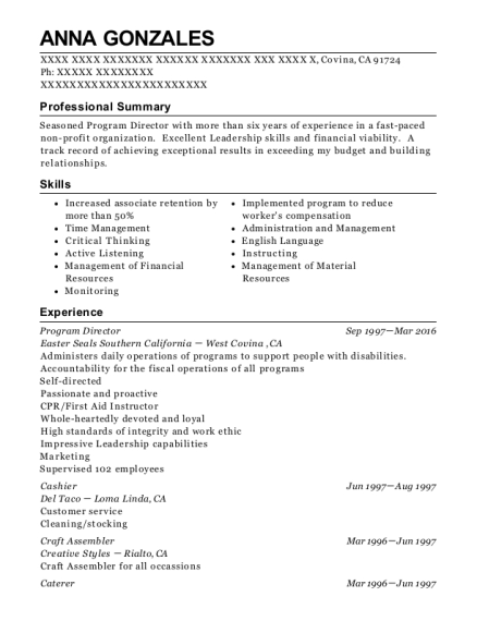 Program Director resume format California