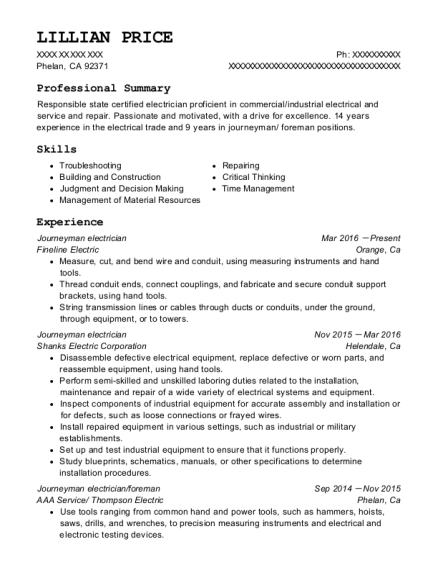 Journeyman electrician resume sample California