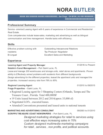 Leasing Agent and Property Manager resume sample California
