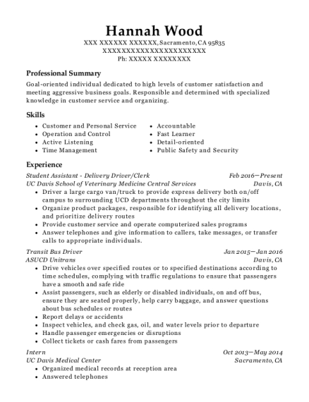 Student Assistant Delivery Driver resume sample California