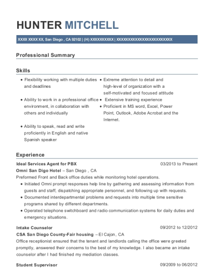 Ideal Services Agent for PBX resume sample California