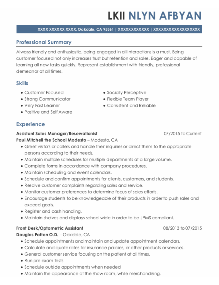 Assistant Sales Manager resume example California