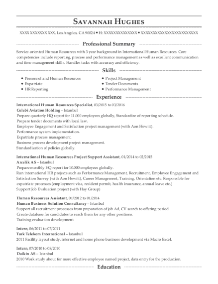 International Human Resources Specialist resume sample California