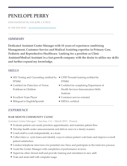 Assistant Center Manager resume sample California