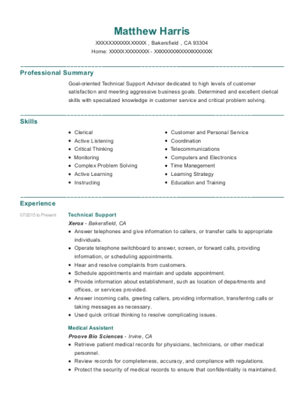 Technical Support resume example California