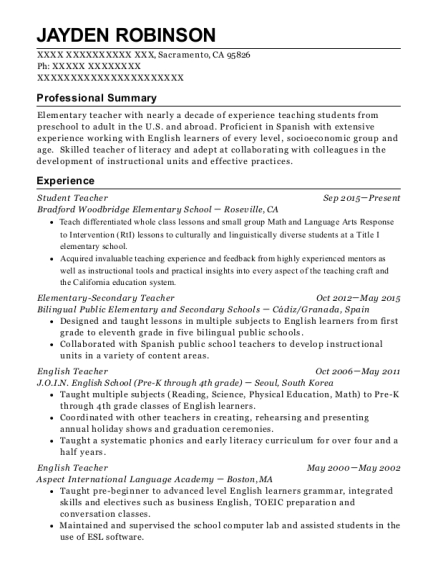 Student Teacher resume template California